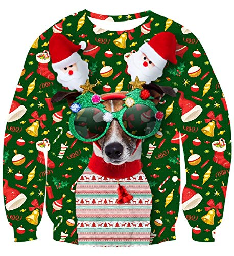 uideazone Unisex Ugly Dog Christmas Sweater Men Novelty 3D Graphic Long Sleeve Pullover Sweatshirt T-Shirt for Party Christmas
