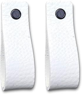 Tiradores de Cuero   Blanco / 2 piezas   16,5 x 2,5 cm   Piel de Granos   3 tornillos de color - tiradores para Accesorio de Mobilario, armario, cajón, puerta