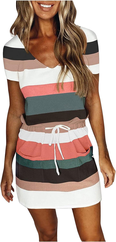Aullivillen Summer Dresses for Women V Neck Sleeveless Spaghetti Sundress Stripe Short Sleeve Mini Dress with Belt Pocket