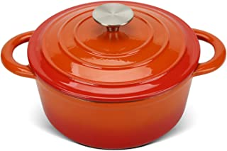 COOKWIN 2.9 QT Cast Iron Dutch Oven, Enamel Coated Cookware Pot with Self Basting Lid, Ideal for Family, Orange