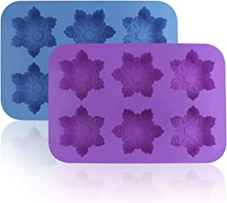 Silicone Snowflake Molds, FineGood 2 Pack Cake Pans Cookie Trays Handmade Soap Making Moulds, Also for Chocolate Pudding Jelly Muffin Cups Kitchen Baking Decoration, 6-Cavity - Blue, Purple