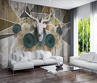 Nordic 3D Abstract Geometry Wallpaper Wood Deer Geometric Wall Mural Hd Photo Wallpapers Home Wall Decor Wall Paper 3D-400Cmx280Cm