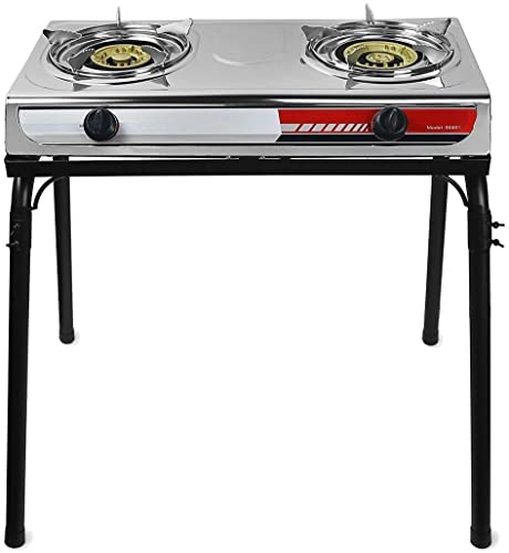high quality Gas Gasoline online lpg Stainless Stove With Stand Dual outlet sale Burners Cook Stand Portable Piezo Starter online sale