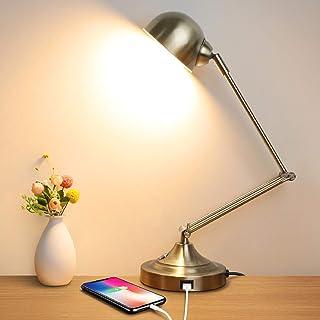 چراغ میز کار LED قابل تنظیم با لمس ، 3 حالت رنگی ، پورت شارژ USB ، 10 وات صرفه جویی در مصرف انرژی ، بازوی قابل تنظیم 360 درجه ، لامپ میز فلزی آنتیک یکپارچهسازی با سیستمعامل برقی برای اتاق خواب ، اتاق نشیمن ، دفتر ، محل کار ، مطالعه ، مطالعه