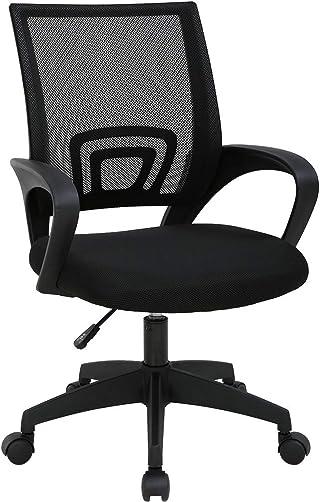 T-LoVendo TY-H03-BLACK Silla de Oficina con Soporte Lumbar, Negro