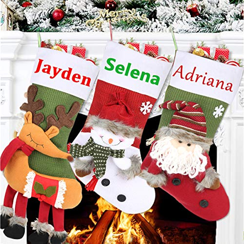 uptronic Christmas Stockings, Big Size 20' Set of 3 Personalized Xmas Stockings with 3D Snowflake Santa, Snowman, Reindeer, Classic Plaid Christmas Stocking for Family Holiday Xmas Party Decorations
