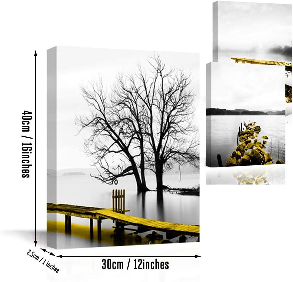 Piy Painting Impression sur Toile de Beau Paysage de C/ôt/é du Rivage Exprimer Bateau Dor/é sur Le Lac en Hiver Pr/êt Suspendu Peinture Tableau pour Art D/éco Murale Salle de Bain Salon Cadeau 3x30x40cm