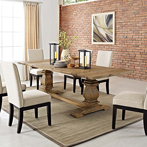 Modway Rise 73' to 103' Rustic Farmhouse Trestle Extendable Wood Kitchen and Dining Table in Brown