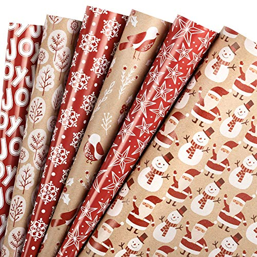WRAPAHOLIC Wrapping Paper Sheet - Santa Claus and Snowflake Design, Perfect for Christmas, Holiday, Baby Shower - 1 Roll Contains 6 Sheets - 17.5 inch X 30 inch Per Sheet