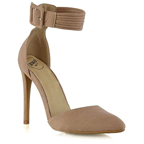 034979c00 ESSEX GLAM Womens Stiletto High Heel Pointed Pumps Ladies Belted Ankle  Strap Court Shoes