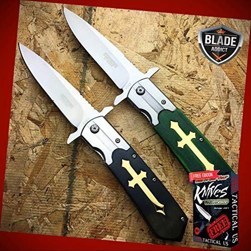 New 2PC 9.5' inch STAINLESS STEEL CELTIC CROSS SPRING OPEN ASSISTED POCKET ProTactical Knife Gothic BA-1151kn by PrTac-US