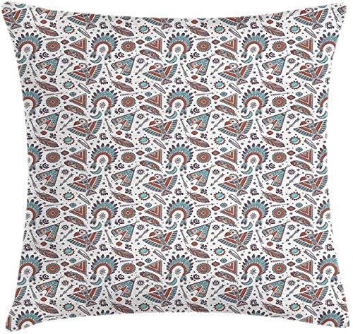 Pearls Throw Pillow Cojín,Perla en Concha Marina y Algas en Estilo Acuarela Imagen Tropical con Estampado Pintado,Funda de Almohada Decorativa Cuadrada Decorativa,45 x 45 cm,Azul Blanco