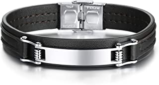 Personalized Custom Engraved Leather Bracelets,Customized men's Stainless Steel ID Bracelet,Gift for Him,8.4