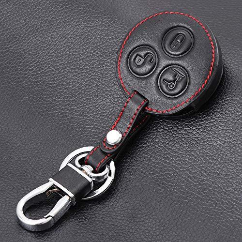 GFHDGTH 3 Knoppen Lederen sleutel Cover Auto Sleutelhanger Sleutelhanger Case Cover portemonnee, Geschikt voor Mercedes Benz Smart Geschikt voor twee Geschikt voorvier City Roadster