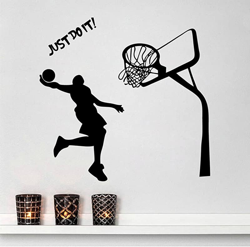 Inspiration Wall Sticker Quotes Just Do It Removable Wall Decor Decals Basketball For Kids Boys Children Living Room Bedroom Nursery School Office 16 9 X 28 3 Inch