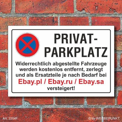 Schild Parkverbot, Halteverbot, Ebay.pl, 3 mm Alu-Verbund (450 x 300 mm)