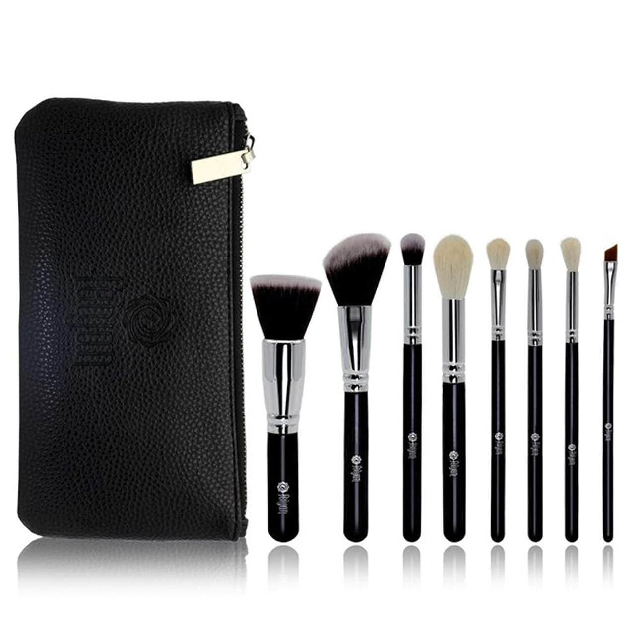 ポータブルメイクブラシセット8個の化粧品の美しさのツールの旅行黒い漆の木製ハンドルPUジッパーバッグブラック