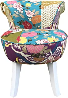 Comfortable Chair European Shabby Chic Padded Vanity Stool, Cushioned Lounge Stool with Solid Wood Legs,Baroque Piano Chair with Cotton Linen fabric, for Dressing Room/Living Room/Bedroom/Restaurant