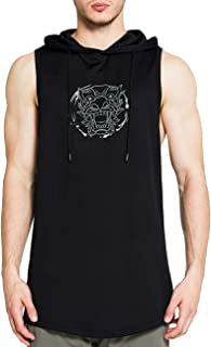 DUOFIER Men`s Workout Hooded Tank Tops Sleeveless Gym Hoodies Bodybuilding Muscle Sleeveless T-Shirts