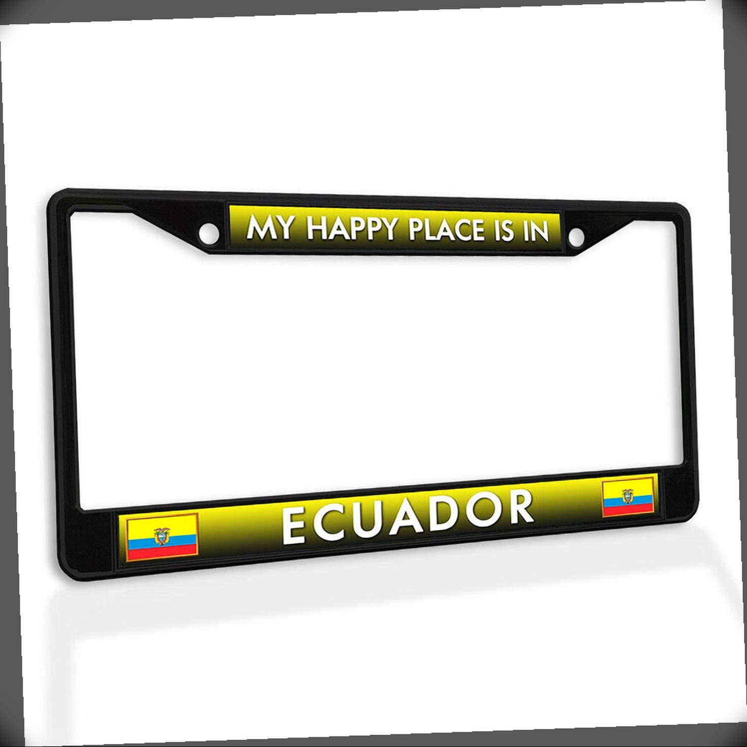 New License Plate Frame My Outlet ☆ Free Shipping Happy Place Ecuador in Car Metal is Daily bargain sale I