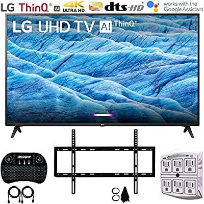 4K HDR Smart LED IPS TV w/AI ThinQ (2019) + Slim Flat Wall Mount Ultimate Bundle + 2.4GHz Wireless Keyboard Smart Remote w/Touchpad + 6-Outlet Surge Adapter w/Night Light