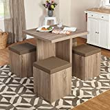 Target Marketing Systems Baxter Dining Set, Natural/Taupe (5 Piece)