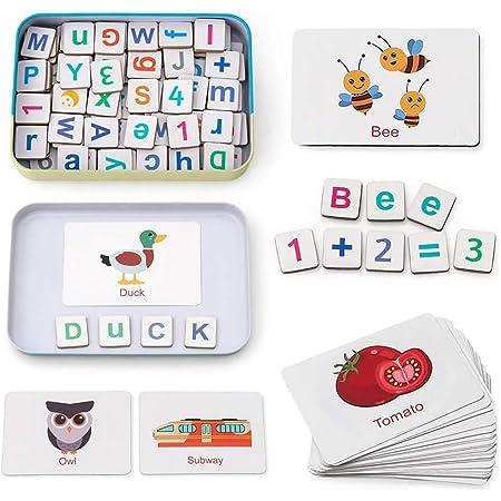 Kerta Juguetes de educación temprana del alfabeto inglés, letras y números magnéticos de madera, juguetes para niños, juguetes de aprendizaje de ortografía y contado