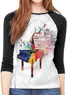 Piano Women's Sleeve T-Shirt Treble Clef Notes Hummingbird Casual Polyster O Neck Sport T Shirt,