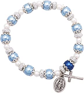 Rosemarie Collections Women's Simulated Pearl Beaded Stretch Rosary Bracelet with Crucifix and Miraculous Medal