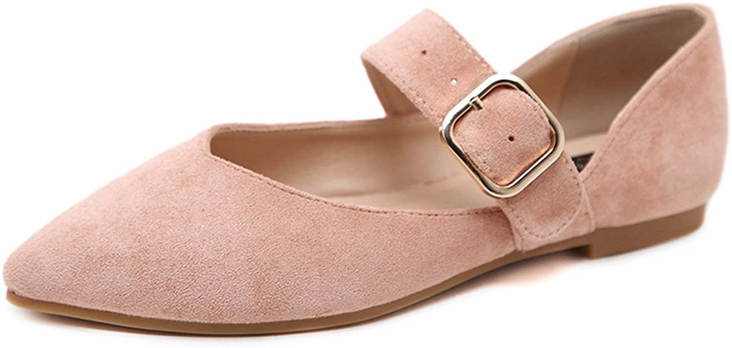 Giles Jones Womens Ballet Flats with Ankle Buckle Strap shoes Slip On Loafers