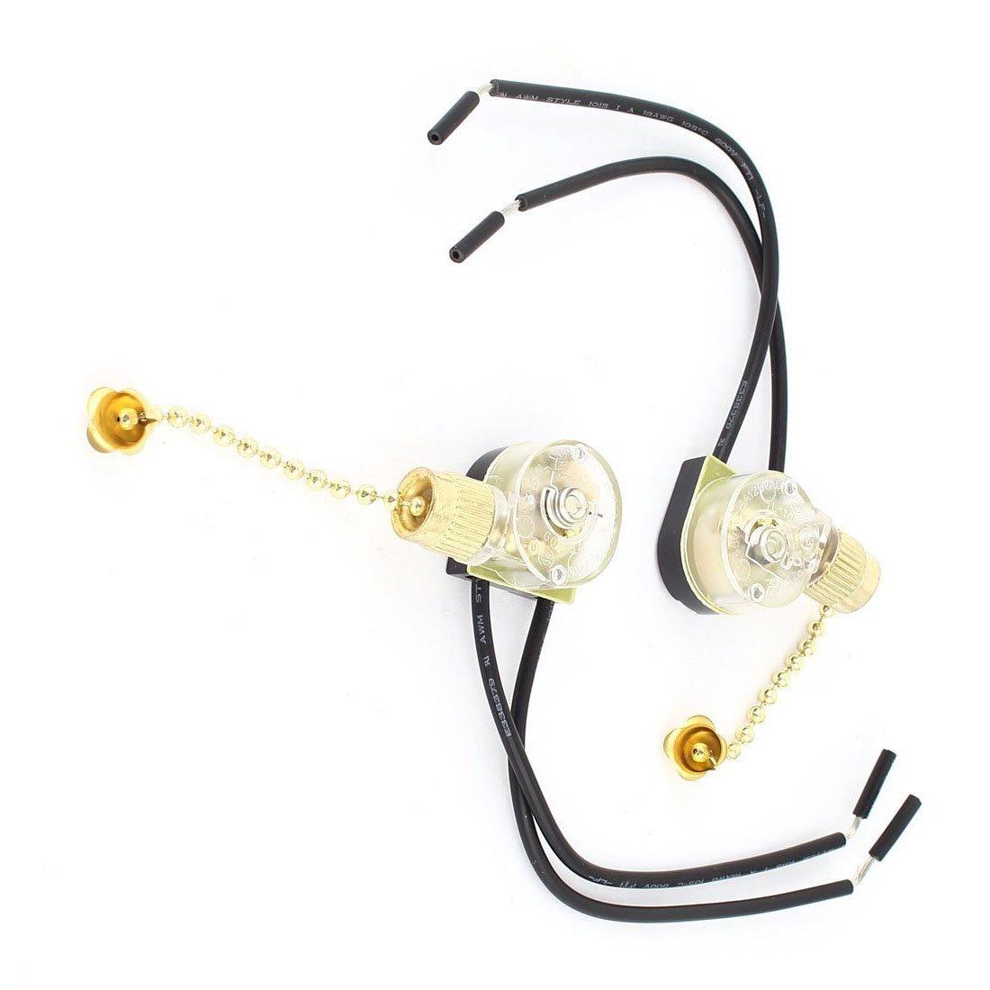 cremallera Interruptor - SODIAL(R) 2 PIEZAS CA 3A 250V 6A 125V Con cable Ventilador De Techo Cadena Interruptor Tono Oro: Amazon.es: Bricolaje y herramientas