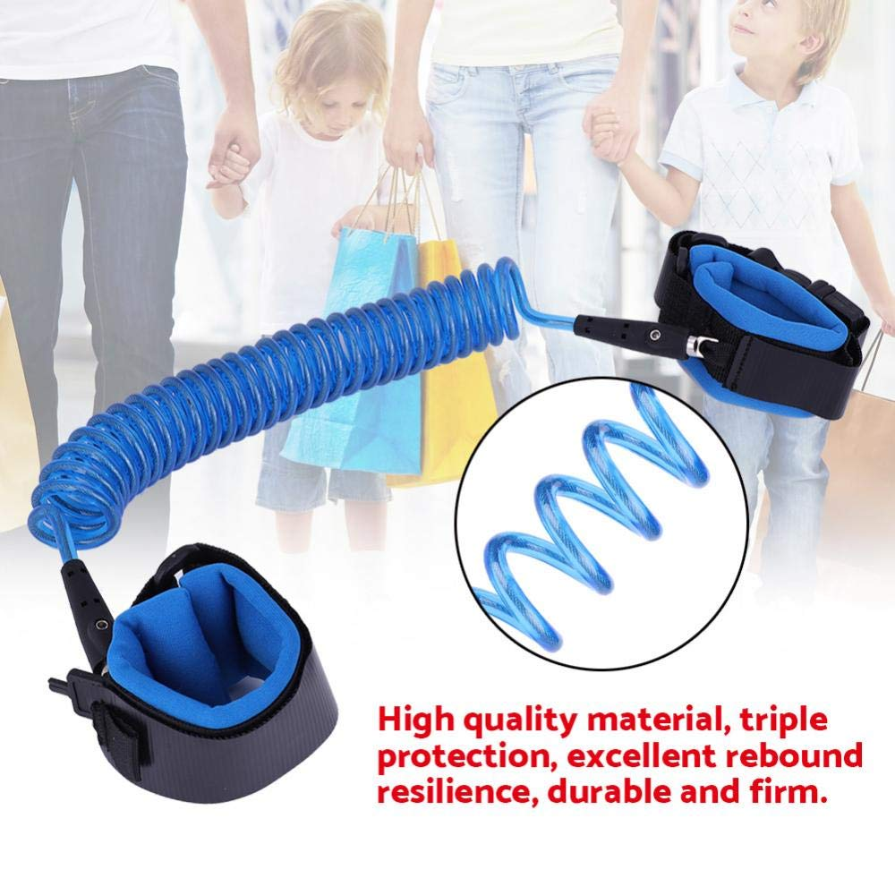 Anti Lost Wrist Link Safety Wrist Leash Loop Wristband Walking Harness with Safety Key Lock for Toddlers Kids Baby 2.5M(Blue)
