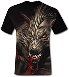 CuGuGo Mens Werewolf Bloody 3D T Shirt Short Sleeve