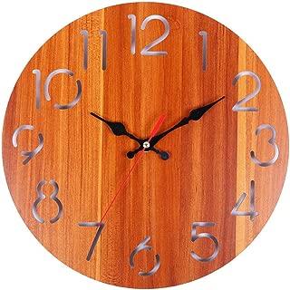 Sendke 12 Inch Retro Wooden Wall Clock Farmhouse Decor, Silent Non Ticking Wall Clocks Large Decorative - Quality Quartz Battery Operated -