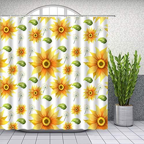 None brand Blumen Duschvorhänge Sonnenblume Gelb Blume Grün Blatt Pflanze Weiß Badezimmer Dekor Wasserdichter Stoffvorhang-180 cm x 220 cm