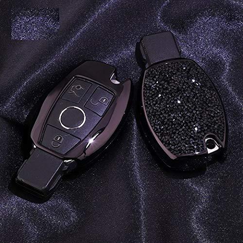 YJLOVK Für Mercedes Benz Schlüsselanhänger Koffer Kette Schlüsselschale Schlüsselhülle Abdeckung Kompatibel mit Mercedes Benz CESM CLS CLK G Klasse Keyless, Lila Schwarz Koffer