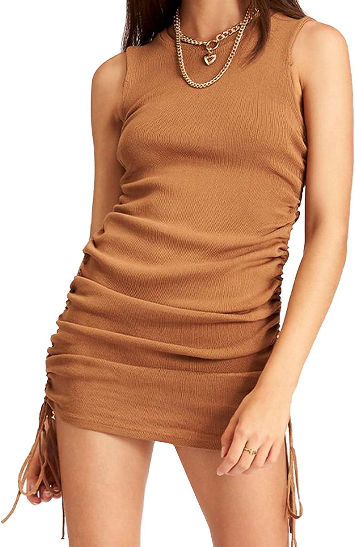 ODIFORGO Womens Sleeveless Bodycon Ruched Mini Dresses Side Drawstring Casual Summer Tank Club Dress