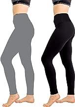 Women's High Waist Leggings 2 Pack - Yoga Pants Tummy Control Slimming Booty Leggings Workout Running Butt Lift Tights