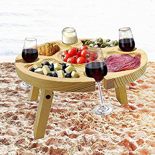 Mesa de Vino Plegable al Aire Libre con Bandeja para Queso Refrigerios, Mesa de Picnic Portatil con Soporte de Copa de Vino Tinto Utilizada para Hacer Colas en el Jardín y Cenas de Campamento