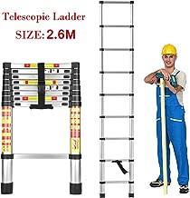 HOME BUY Aluminium Telescopic Folding Step Ladder, 2.6 m (8.5 Feet, Height, Silver)