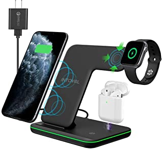 Intoval Wireless Charger, 3 in 1 Charger for iPhone/iWatch/Airpods, Qi-Certified Charging Station...