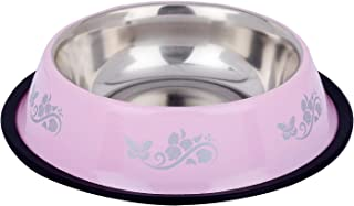 Naaz Anti Skid Dog Bowl Bowl for Feeding Dogs Cats and Pets (Pink) Printed 450ML Small
