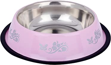 Naaz Anti Skid Dog Bowl Bowl for Feeding Dogs Cats and Pets (Pink) Printed 1500 ML Extra Large