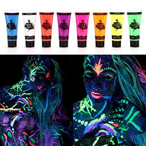 Fesjoy Kit de Pintura Facial, 8 Tubos 10ml / 0.34oz UV Neon Face & Body Paint 8 Colores Neon Fluorescent UV Blacklight Glow Safe No tóxico Bodypaint para Disfraces de Halloween Maquillaje Club