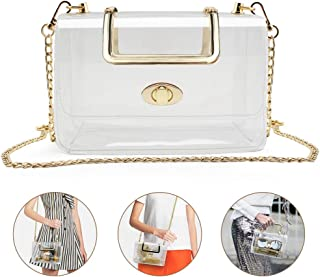 Clear Purse for Women/Girls, Coromay Clear Crossbody Bag NFL & PGA Stadium Approved, Clear Gameday Purse with Removable Chain Strap, Fashionable Design and Fits Many Occasions 7.1x4.5x3.1 inch