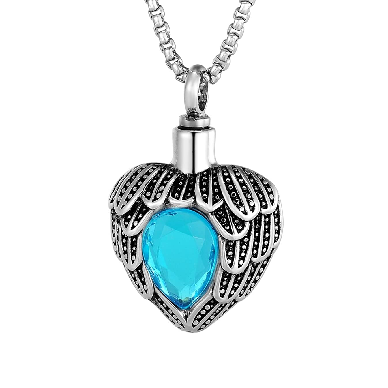 HOUSWEETY Stainless Steel Angle Wing Birthstone Heart Urn Necklace Cremation Jewelry Memorial Pendant-December