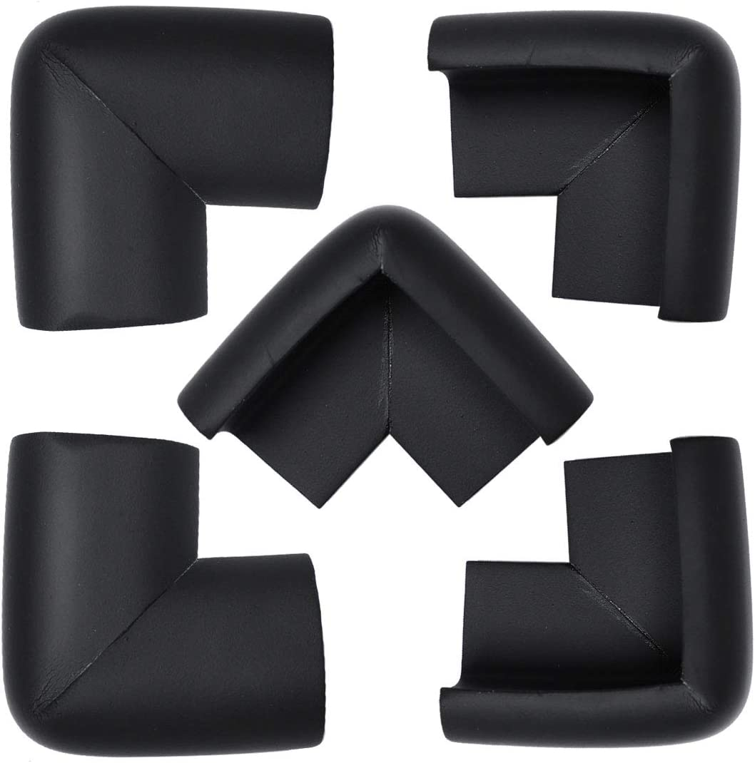 uxcell 5 Pack Foam Furniture Table Desk Edge Cover Pads Protectors Corner Cushions Bumper Guards 55 x 35 x 35 x 10mm Black