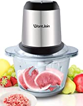 WantJoin Electric Food Processor Meat Grinder and Food Chopper with 4 Titanium Coating Blades Glass Bowl Blender Grinder for Meat, Vegetables, Fruits and Nuts, Fast & Slow 2-Speed (1.2L)