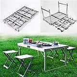 kaige Acampar de Mesa de Picnic / 4 sillas 1 Tabla Impermeable Conjunto de Muebles - Metal, incombustible, Ligero, Ajustable WKY