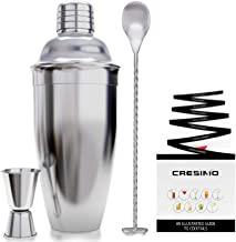 Cresimo 24 Ounce Cocktail Shaker Bar Set with Accessories - Martini Kit with Measuring Jigger and Mixing Spoon plus Drink ...